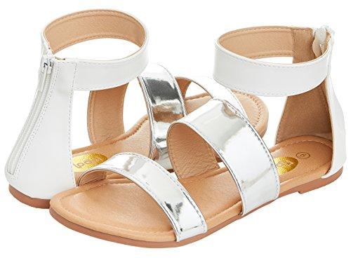 Zippered Women Sandals - Floopi Womens Summer Slide Ankle Strap Flat Sandal W/Zipper (6, Silver/White-505)