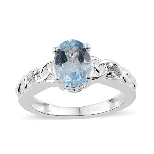 Oval Sky Blue Topaz White Topaz Statement Ring for Women Size 9 Cttw 1.2 ()
