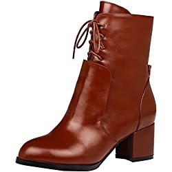 Calaier Shoes Qweee 5.5CM Boots Shoes, Womens, Brown