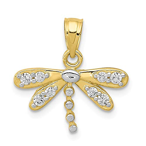 Jewelry Stores Network 10K Yellow Gold CZ Dragonfly Charm 20x13mm