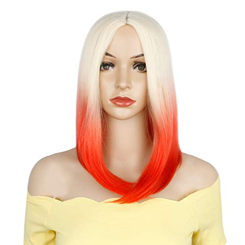 - Colorful Bird Short Straight Bob Wig Ombre Blonde to Red Bob Wig Synthetic Middle Part Short Wig for Women Cosplay Party Wig 14 inches