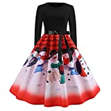 WOCACHI Final Clear Out Christmas Dresses Women Vintage Xmas Snowman Musical Notes Swing Dress Long Sleeve Reindeer Maxi Mini Knee Length Bowknot Sashes (Red, X-Large)