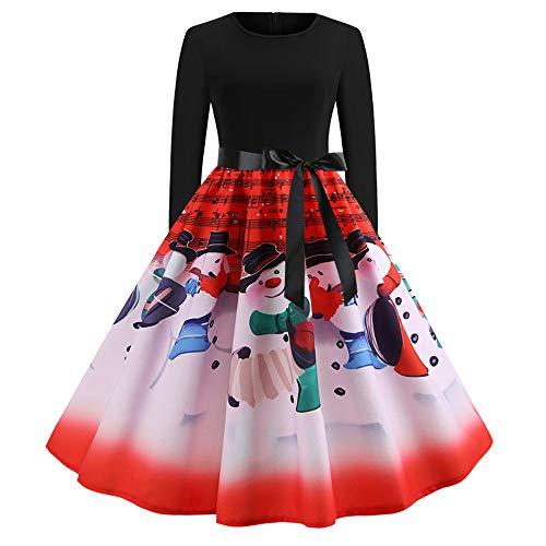 Halloween Spa Promotions (TOTOD Christmas Vintage Dress, Women Elegant Long Sleeve Print Dresses - O Neck Xmas Evening Party Swing)