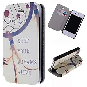 DUR Keep Dream Alive Dream Catcher Pattern Leather Full Body Case with Card Slot for iPhone 4/4S