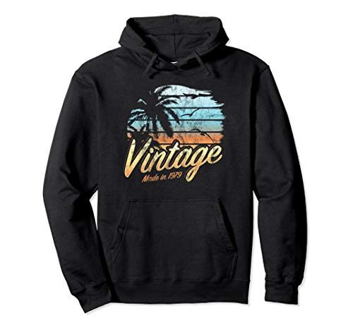 Vintage 1979 Palm Tree Beach Vacation Sunset 40th Birthday Pullover Hoodie 40th Birthday Pullover Hoodie