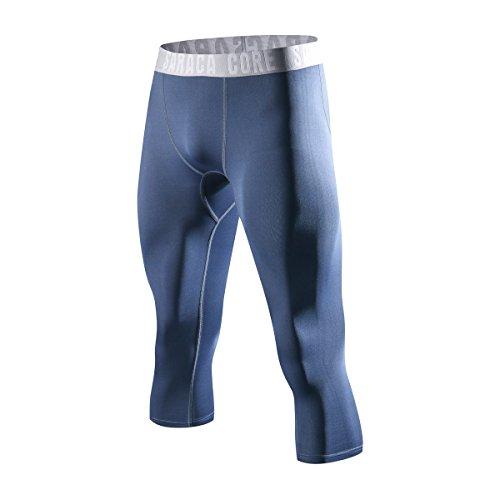 Short Base Layer - saraca core Men's Boys 3/4 Capri Shorts Compression Pants Youth Sports Leggings Running Tights Cool Dry Base Layer(14C,X-Large