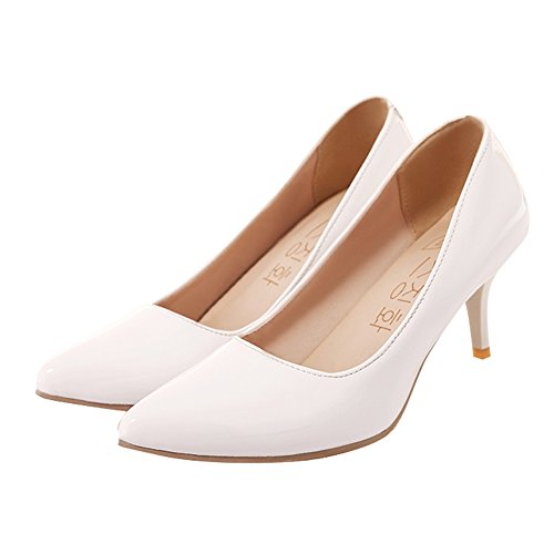 Latasa Womens Solid Color Pointed Toe Mid Heel Pumps White 7jqOjapT