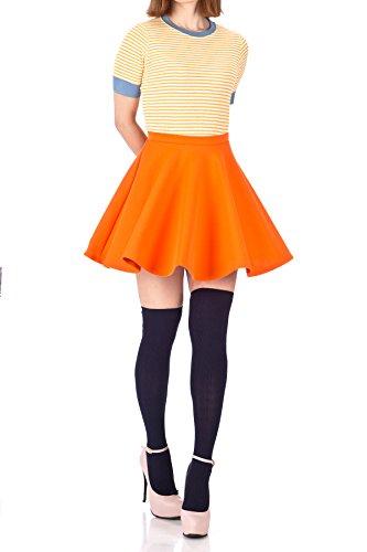 Flouncy High Waist A-line Full Flared Circle Swing Dance Party Casual Skater Short Mini Skirt (S, Orange) (Girls Orange Skirt)