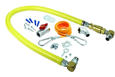 T&S Brass HG-4C-60SK Gas Hose with Quick Disconnect, 1/2-Inch Npt, 60-Inch Long, Installation Kit and Swivelink Fittings