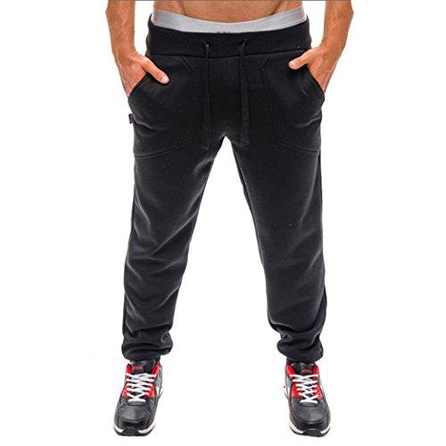 (Big Promotion! Mens Long Trousers Tracksuit Fitness Workout Joggers Gym Sweatpants (29 Waist, Black))