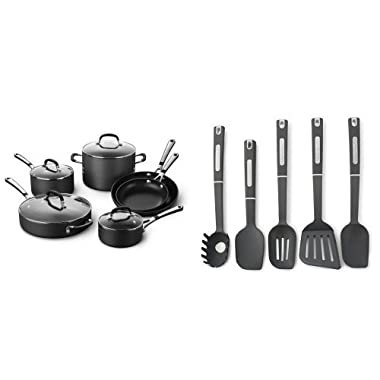 Simply Calphalon Nonstick 10 Piece Cookware Set and Calphalon 5-Piece Nylon Kitchen Cooking Utensil Set Bundle