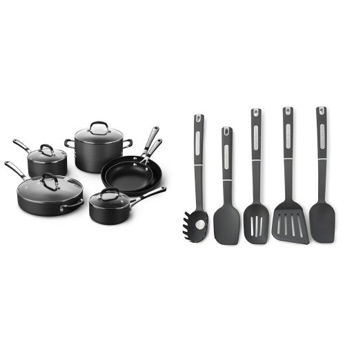Simply Calphalon Nonstick 10 Piece Cookware Set and Calphalon 5-Piece Nylon Kitchen Cooking Utensil Set Bundle