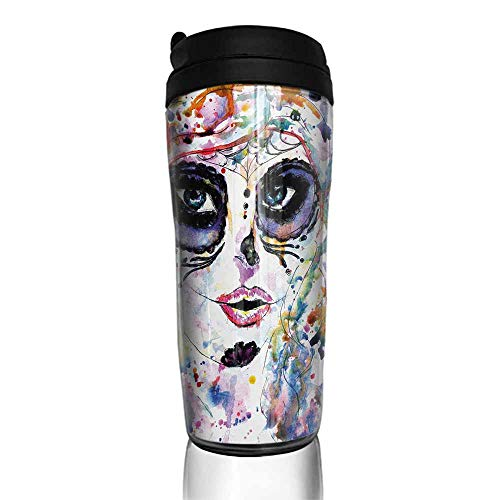 coffee cups with lids 12 oz Sugar Skull,Halloween Girl with Sugar Skull Makeup Watercolor Painting Style Creepy Look,Multicolor 12 oz,yeti handles for coffee cup -