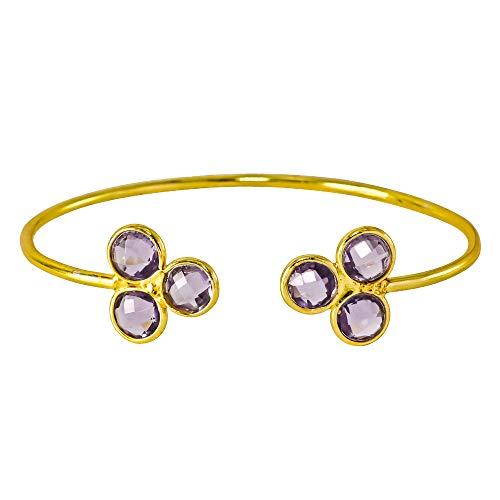 (Iolite Quartz 18k Gold Plated 925 Sterling Silver Bezel, Adjustable, Handmade Bangles & Bracelets)