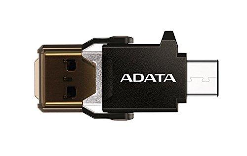 ADATA ACMR3PL-OTG-RBK USB 3.0 (3.1 Gen 1) Type-A/Type-C Noir lecteur de carte mémoire - Lecteurs de carte mémoire (Clé USB (MS), USB 3.0 (3.1 Gen 1) Type-A/Type-C, Noir, Plastique, 20,2 mm, 42,2 mm)