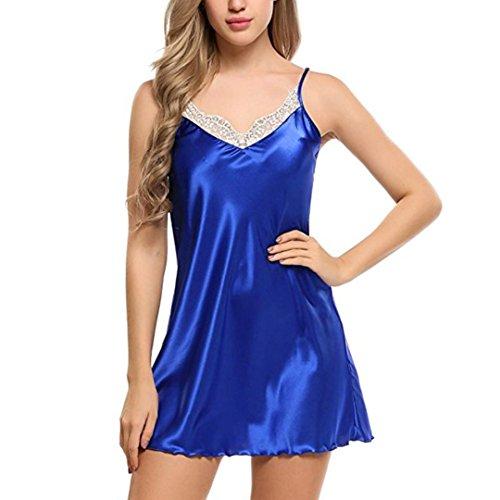 Solid Lingerie Strap - Letdown Women Sexy Lace Spice Strap Dress Sleepwear Solid Classical Underwear Lingerie (S, Blue)