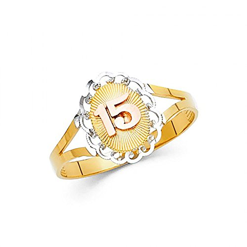 American Set Co. 14K Tri-Color Gold Diamond-Cut 15 Anos Quinceanera Ring ()