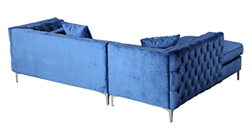 91e6ff5ce62e Iconic Home Da Vinci Tufted Silver Trim Navy Blue Velvet Left Facing ...