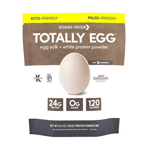 Designer Protein Totally Egg, Dutch Chocolate, 12.4 Ounce, Egg White & Yolk Protein Powder (Best Egg Protein Powder)