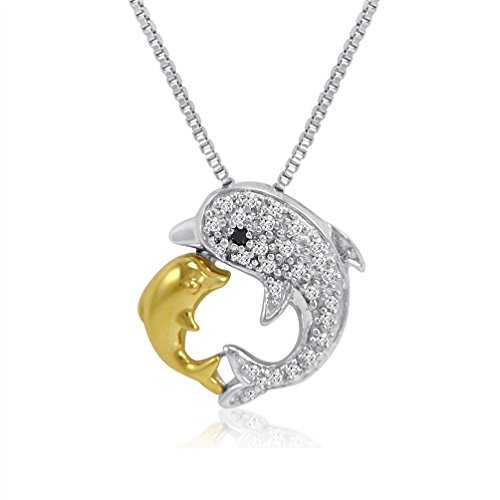 Sterling Silver and 14K Gold Kissing Dolphin Diamond Pendant-Necklace (1/10ct tw) ()
