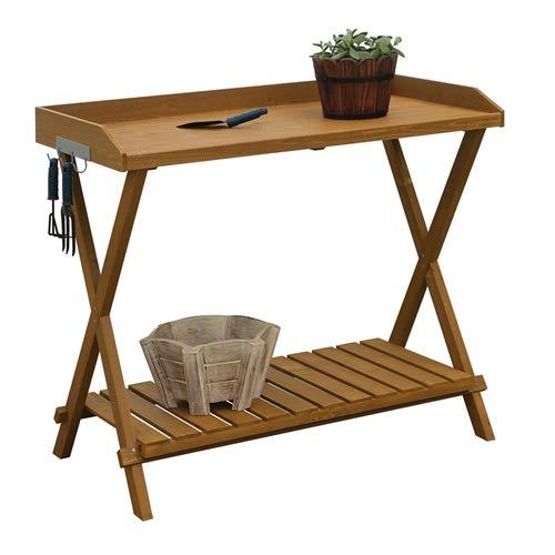 CHOOSEandBUY Outdoor Folding Garden Table Potting Bench with Slatted Bottom Table Folding Garden Camping Picnic