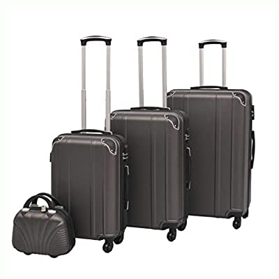 K&A Company Suitcase, 4 Piece Hardcase Trolley Set Anthracite