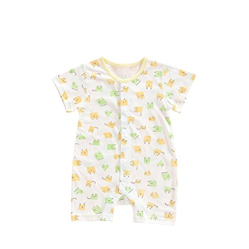 MuYwa Babys' Organic Short Sleeve Romper, Soft 100% Cotton Romper Creeper, Easy Diaper Changes Snap up Romper M-Yellow