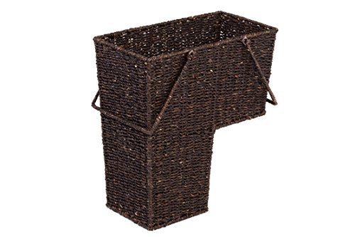 "Trademark Innovations 14"" Wicker Storage Stair Basket with Handles (Brown) - Measures 14""L x 8""W x 16""H Fits securely on standard width Stairs Sturdy construction - living-room-decor, living-room, baskets-storage - 41lA SmEQkL -"