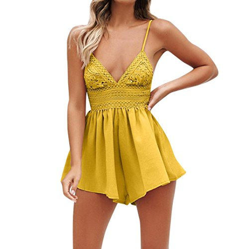 iYYVV Women Bowknot Backless Mini Hollow Beach Jumpsuit