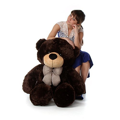 4 Foot Tall Huge Teddy Bear Life Size Chocolate Brown Color Warm Smiling Plush Toy Brownie Cuddles