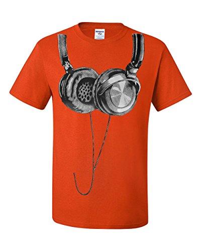 Huge Hanging Headphones T-Shirt DJ Music Tee Shirt Orange 2XL ()