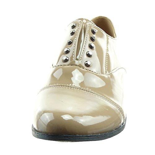 Sopily - Scarpe da Moda Scarpe brogue alla caviglia donna verniciato Tacco a blocco 2 CM - Khaki