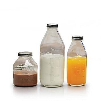 Juego de 3 botellas de leche de cristal transparente – estilo vintage con Metal con tornillo
