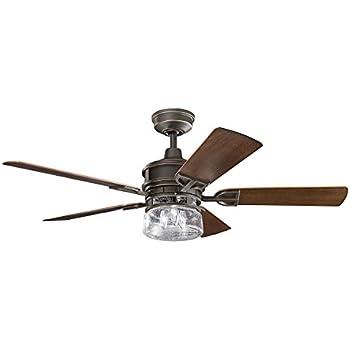 Kichler Lighting 310139OZ Lyndon Patio 52 Inch Olde Bronze Ceiling Fan With Dark Walnut