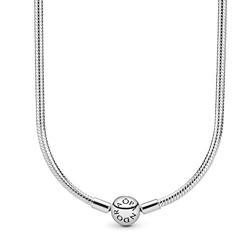 45 Cm Necklace - Pandora Jewelry - Moments Snake Chain Charm Necklace for Women in Sterling Silver, 17.7 IN / 45 CM