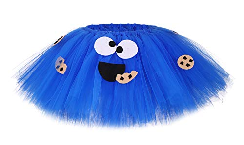 MOCUER Kids Girls Cartoon Cookie Monster Tutu Skirt Halloween Birthday Role Play Tutus Skirts (Blue, Large) -