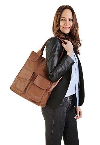 Femme Leder Echt Sac Shopping Cognac Forty° RxBpUU