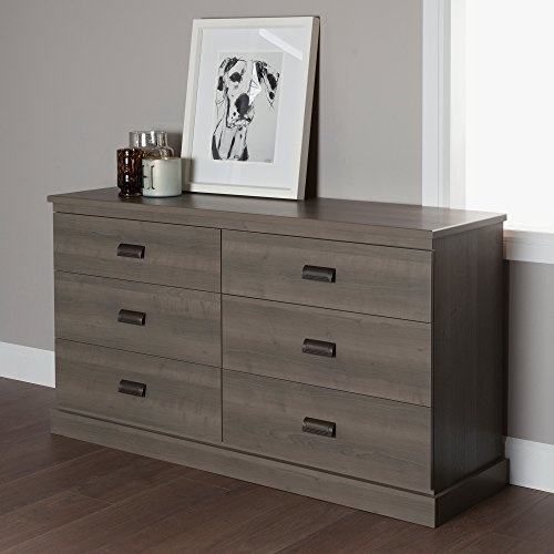 Six Finish Dresser Maple Drawer - South Shore Gloria 6-Drawer Double Dresser, Gray Maple with Brass Finish Handles