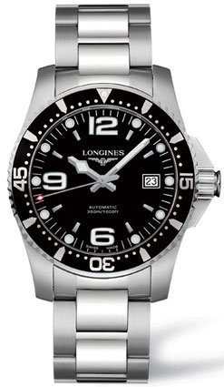 Longines Black Dial HydroConquest Automatic Diver Mens Watch - L3.642.4.56.6