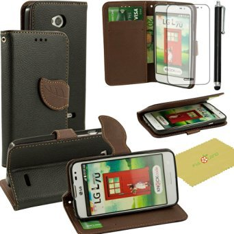 LG Optimus L70 Case, Fulland Wallet Card Holder PU Leather Pouch Flip Leaf Style Case Cover with Stand for LG Optimus L70 Plus Stylus Pen and Screen Protector (Cover De Lg 70)