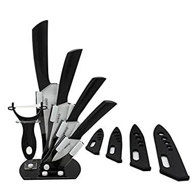 MOKOQI Professional 7 Piece Ceramic Kitchen Knife Cutlery and Peeler Set - Includes 6  Chef's, 5  Slicing, 4  Paring, 3  Fruit Knife and One Peeler Plus Black Block & Scabbard (White)