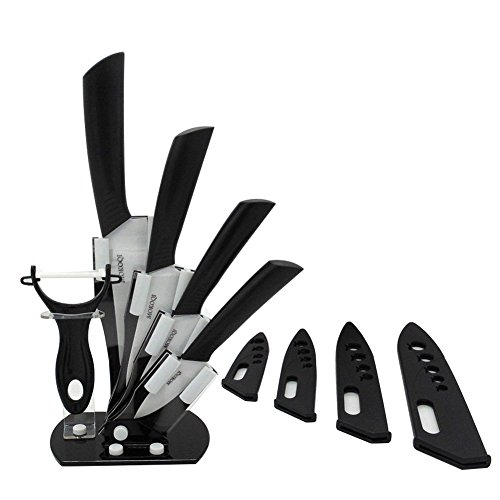 """MOKOQI Professional 7 Piece Ceramic Kitchen Knife Cutlery and Peeler Set - Includes 6"""" Chef's, 5"""" Slicing, 4""""..."""