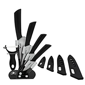 """MOKOQI Professional 7 Piece Ceramic Kitchen Knife Cutlery and Peeler Set - Includes 6"""" Chef's, 5"""" Slicing, 4"""" Paring, 3"""" Fruit Knife and One Peeler Plus Black Block & Scabbard (White)"""
