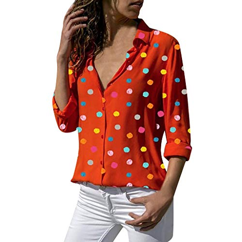 Women's Long Sleeve Shirts,LuluZanm Sales! Ladies Fashion Colorful Polka Dot Printed Tops Casual Button Soft Blouse Red
