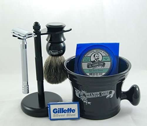 Colonel Conk Shave Kit - Safety Razor, Bowl, Badger Brush, Shave Soap, Stand, and Extra Blades - Black Edition