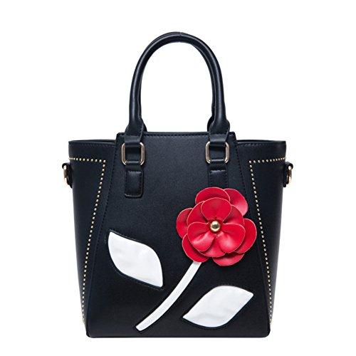 del negro manija de Bolso Golpe parte superior color la flores la para retro Sra de de mensajero bolsos de bolso hombro Bolso negro de bolsos de niñas 41x5awn6q