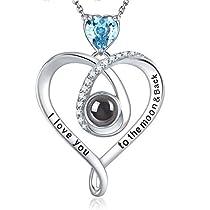 Elda&Co 100 Languages I Love You March Birthstone Aquamarine Necklace Fine Jewelry Gift for Women Sterling Silver Swarovski