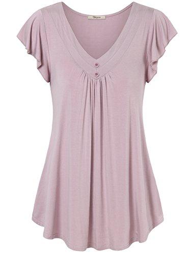 Bebonnie Curved Hem Women, Ladies Flutter Pleated Flare A Line Tuinc Plus Szie Flowy Tunic Blouse Tops Dark Pink L