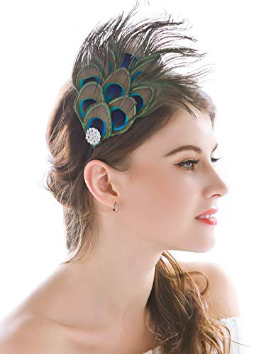 Barogirl Feather Headband Peacock Handmade Headpieces Indian Bohemia Hippie Accessories for Women and Girls (Green) ()