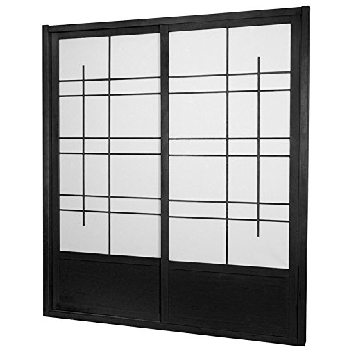 ORIENTAL FURNITURE 7 ft. Tall Eudes Shoji Sliding Door Kit (Double - Sided) - Black
